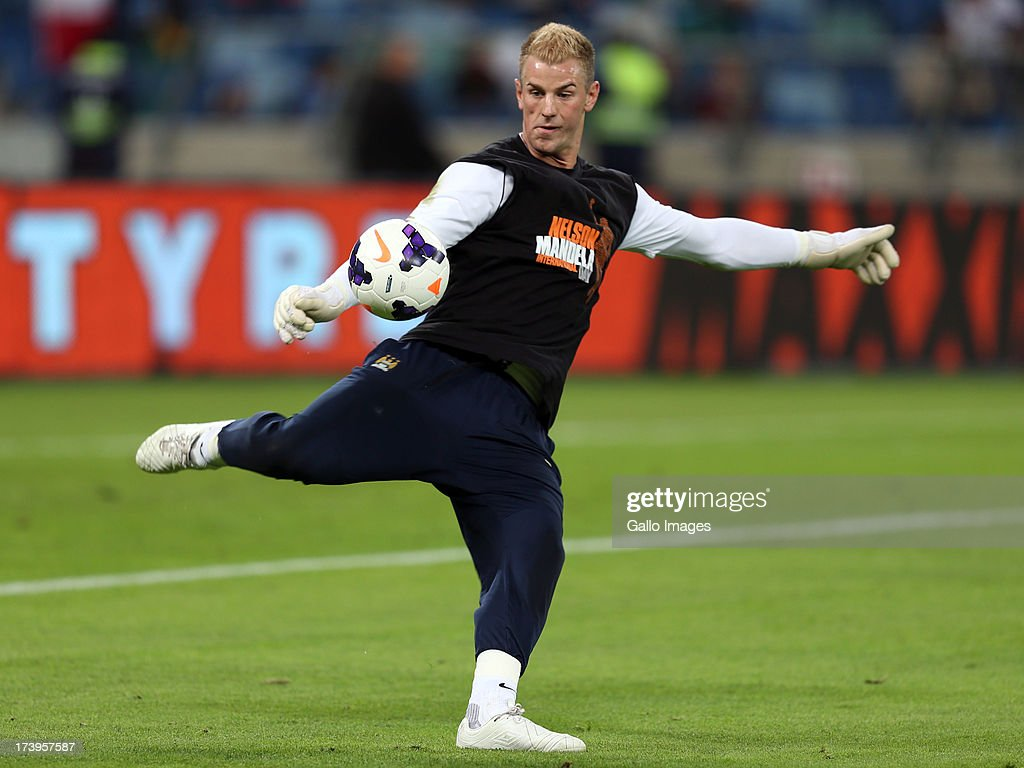 Joe Hart of Manchester City warms up before the Nelson Mandela Football Invitational match between AmaZulu and Manchester City at Moses Mabhida Stadium on July 18, 2013 in Durban, South Africa.