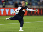 Joe Hart of Manchester City warms up before the Nelson Mandela Football Invitational match between AmaZulu and Manchester City at Moses Mabhida...