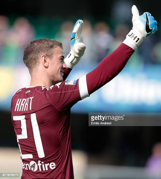Joe Hart of Torino FC salutes the fans at the end of the Serie A match between AC ChievoVerona and FC Torino at Stadio Marc'Antonio Bentegodi on...