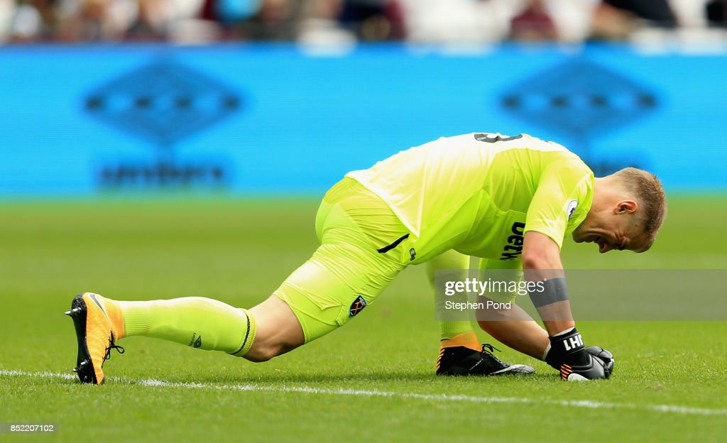 Joe Hart of West Ham United reacts during the Premier League match between West Ham United and Tottenham Hotspur at London Stadium on September 23, 2017 in London, England.