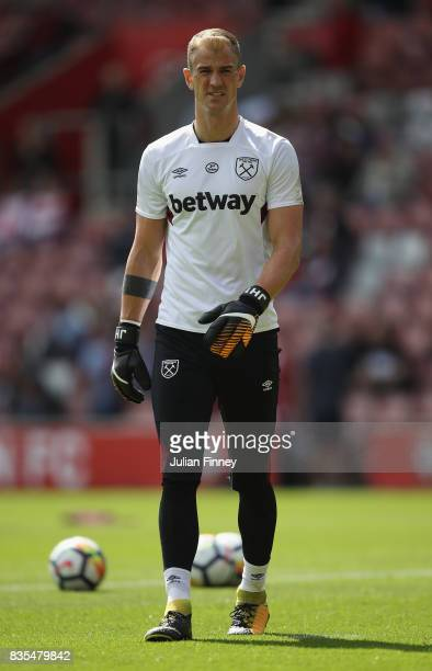 Joe Hart of West Ham United warms up prior to the Premier League match between Southampton and West Ham United at St Mary's Stadium on August 19 2017...