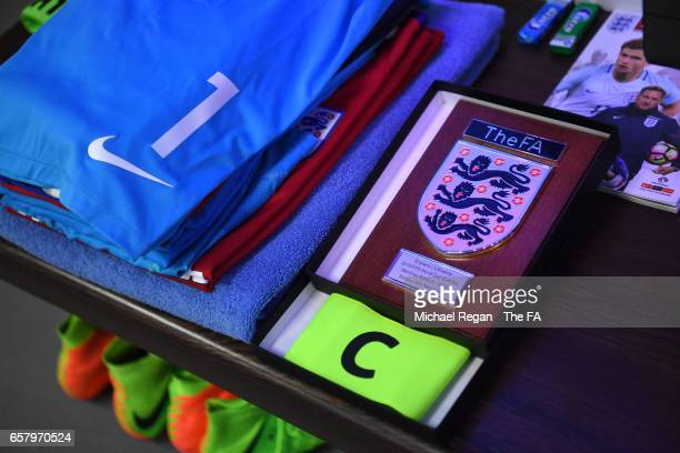 Joe Hart's captain's armband is pictured in the dressing room prior to the FIFA 2018 World Cup Qualifier between England and Lithuania at Wembley...
