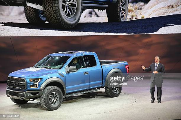 Joe Hinrich President The Americas at Ford Motor Company introduces the new Ford F150 Raptor at the North American International Auto Show on January...