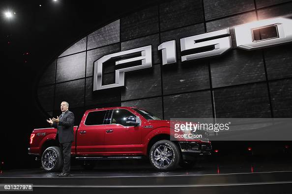 Joe Hinrichs president of the Americas for Ford introduces Ford's new F150 at the North American International Auto Show on January 9 2017 in Detroit...