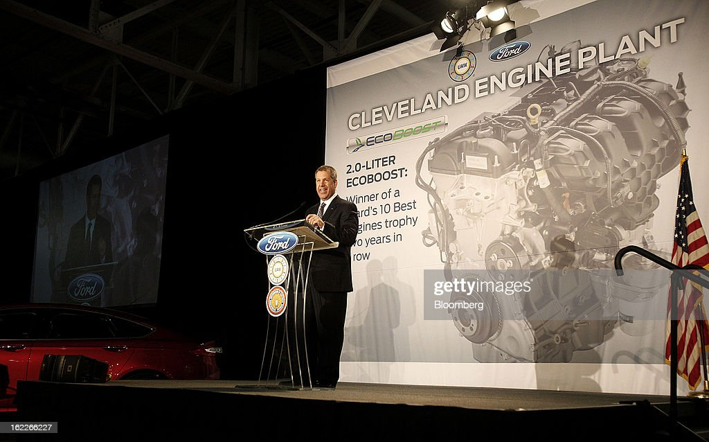 Joe Hinrichs, president of the Americas for Ford Motor Co., speaks during an event at the company's Cleveland Engine Plant in Brook Park, Ohio, U.S., on Thursday, February 21, 2013. Ford Motor Co. said it will invest $200 million to make four-cylinder engines at the plant starting in late 2014 as the second-largest U.S. automaker equips an increasing number of models with smaller, more fuel-efficient powertrains. Photographer: David Maxwell/Bloomberg via Getty Images