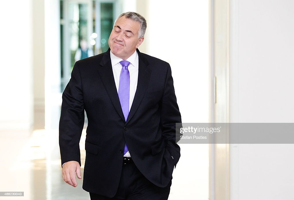 <a gi-track='captionPersonalityLinkClicked' href=/galleries/search?phrase=Joe+Hockey&family=editorial&specificpeople=2961513 ng-click='$event.stopPropagation()'>Joe Hockey</a> arrives at the Liberal Party meeting at Parliament House on September 15, 2015 in Canberra, Australia. Malcolm Turnbull will become the 29th Prime Minister of Australia after he defeated Tony Abbott 54 votes to 44 in a snap leadership ballot on Monday night. Julie Bishop remains deputy leader of the Liberal party following the spill.