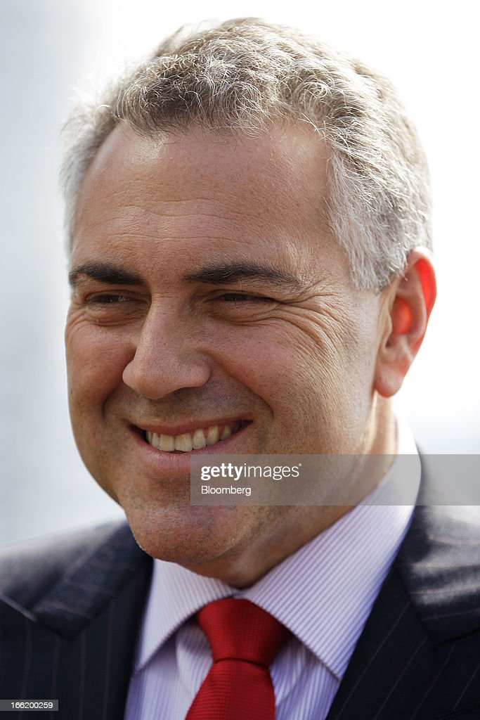 Joe Hockey, Australia's opposition Treasury spokesman, reacts during an interview on the sidelines of the Bloomberg Australia Economic Summit in Sydney, Australia, on Wednesday, April 10, 2013. Hockey intends to ask the Australian Office of Financial Management to extend the maturity of the nation's sovereign bonds should his party form government following a September election. Photographer: Brendon Thorne/Bloomberg via Getty Images