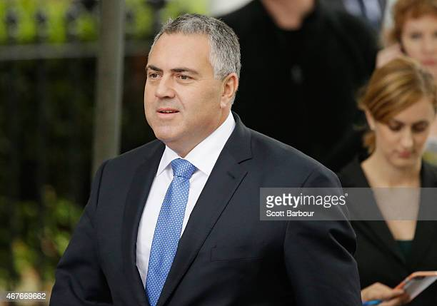 Joe Hockey the Treasurer of Australia in the Abbott Government arrives at Scots Church during the State Funeral for the Right Honourable Malcolm...