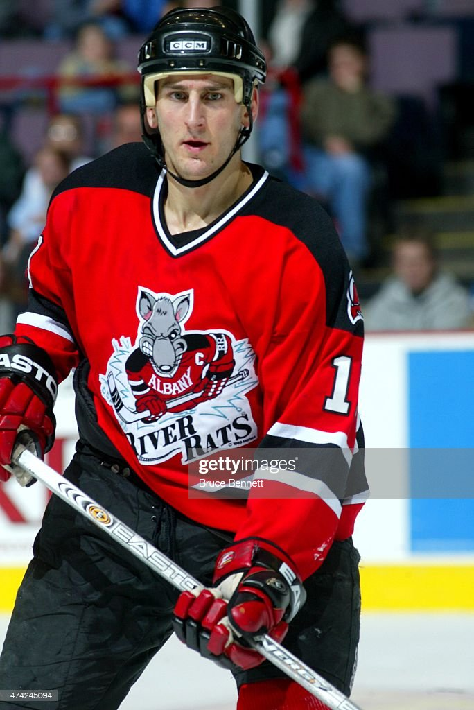 Joe Hulbig of the Albany River Rats skates on the ice during an AHL game against the Binghamton Senators on December 27 2003 at the Floyd L Maines...