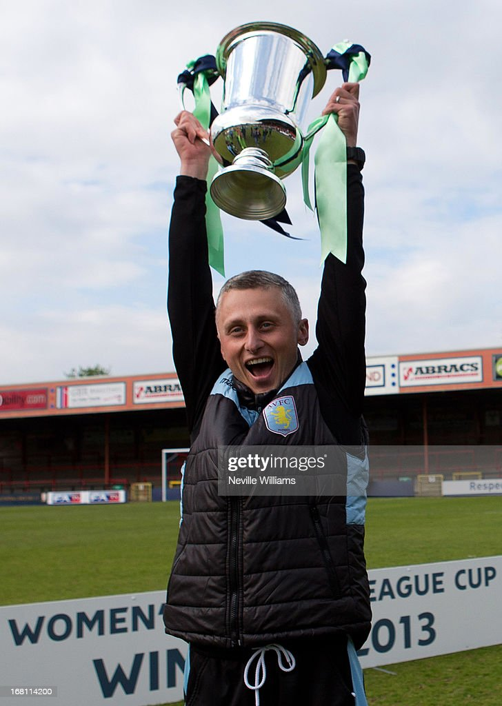 Joe Hunt manager of Aston Villa Ladies poses with the trophy after the FA Women's Premier League Cup Final match against Leeds United Ladies on May 05, 2013 in York, England.