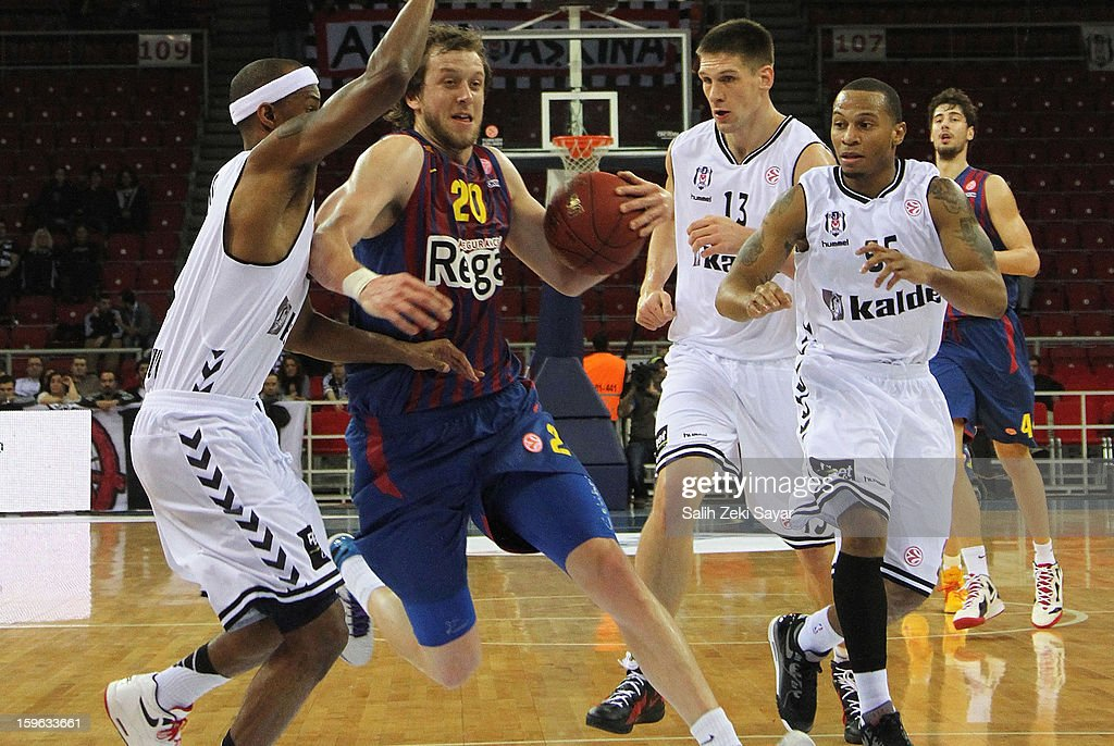 Joe Ingels #20 of FC Barcelona Regal in action during the 2012-2013 Turkish Airlines Euroleague Top 16 Date 4 between Besiktas JK Istanbul v FC Barcelona Regal at Abdi Ipekci Sports Arena on January 17, 2013 in Istanbul, Turkey.