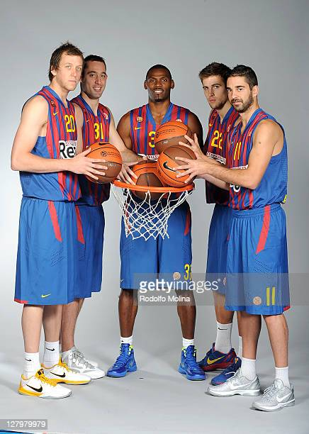Joe Ingles #20 Chuck Eidson #31 Pete Mickeal #33 Xavi Rabaseda #22 and Juan Carlos Navarro #11 pose during the FC Barcelona Regal 2011/2012 Turkish...