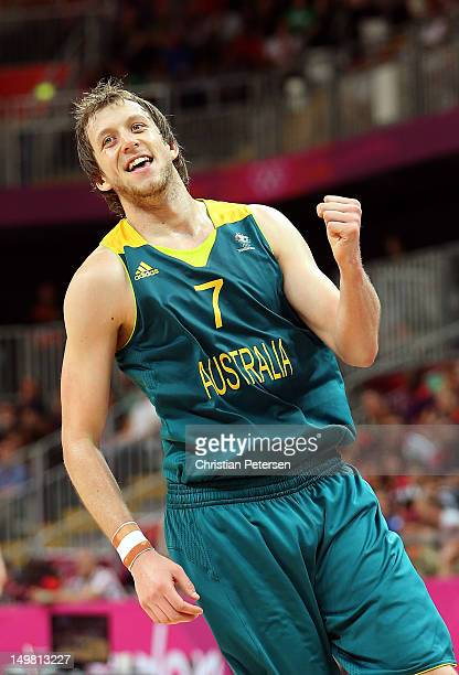 Joe Ingles of Australia reacts after scoring against Great Britain during the Men's Basketball Preliminary Round match on Day 8 of the London 2012...