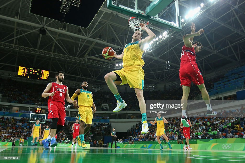 Joe Ingles #7 of Australia slam dunks the ball against Serbia during the Men's Semifinal match on Day 14 of the Rio 2016 Olympic Games at Carioca Arena 1 on August 19, 2016 in Rio de Janeiro, Brazil.