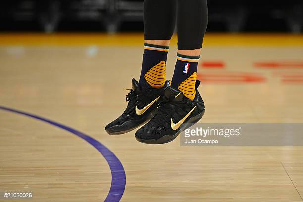 Joe Ingles of the Los Angeles Lakers warms up before the game in his commemorative Mamba Day sneakers before the game against the Los Angeles Lakers...
