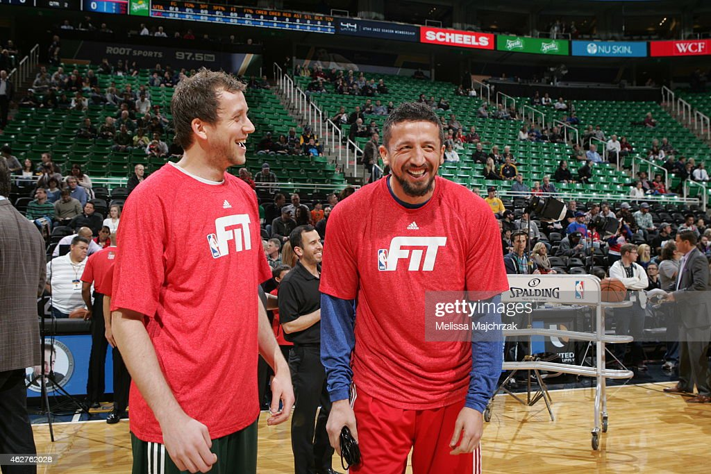 <a gi-track='captionPersonalityLinkClicked' href=/galleries/search?phrase=Joe+Ingles&family=editorial&specificpeople=3868025 ng-click='$event.stopPropagation()'>Joe Ingles</a> #2 of the Utah Jazz and <a gi-track='captionPersonalityLinkClicked' href=/galleries/search?phrase=Hedo+Turkoglu&family=editorial&specificpeople=201639 ng-click='$event.stopPropagation()'>Hedo Turkoglu</a> #15 of the Los Angeles Clippers share a laugh before a game at EnergySolutions Arena on January 28, 2015 in Salt Lake City, Utah.