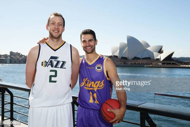 Joe Ingles of the Utah Jazz and Kevin Lisch of the Sydney Kings pose during an NBL Media Opportunity at Cruise Bar on August 1 2017 in Sydney...