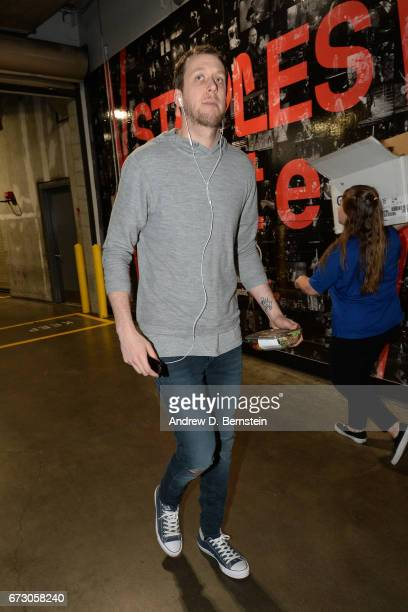 Joe Ingles of the Utah Jazz arrives before the game against the LA Clippers in Game Five of the Western Conference Quarterfinals of the 2017 NBA...