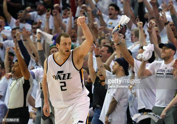 Joe Ingles of the Utah Jazz celebrates a late threepoint basket as the Jazz beat the Los Angeles Clippers 10598 in Game Four of the Western...