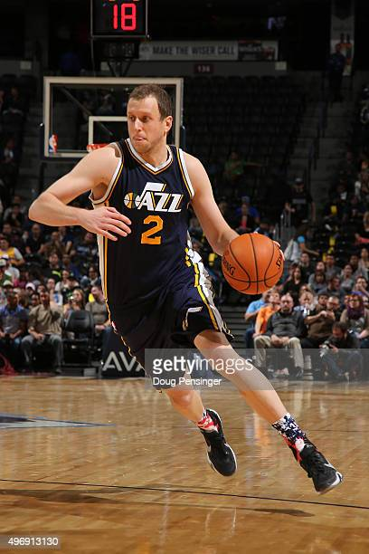 Joe Ingles of the Utah Jazz controls the ball against the Denver Nuggets at Pepsi Center on November 5 2015 in Denver Colorado The Jazz defeated the...