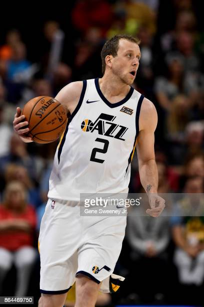 Joe Ingles of the Utah Jazz controls the ball against the Denver Nuggets at Vivint Smart Home Arena on October 18 2017 in Salt Lake City Utah NOTE TO...
