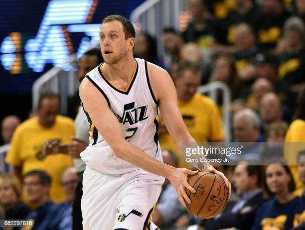 Joe Ingles of the Utah Jazz controls the ball against the Golden State Warriors in Game Three of the Western Conference Semifinals during the 2017...