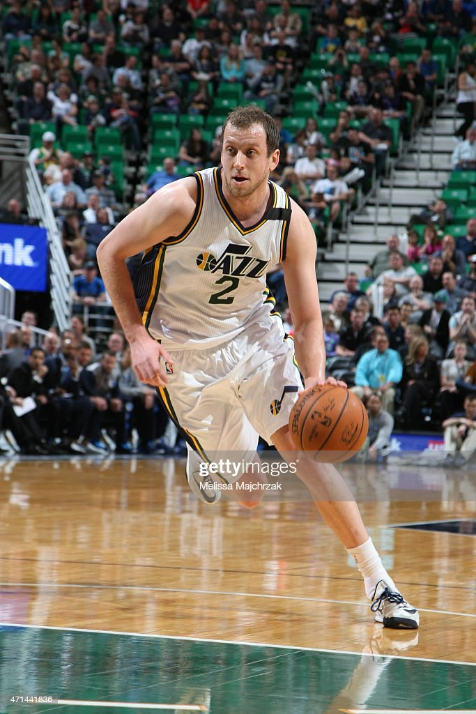 <a gi-track='captionPersonalityLinkClicked' href=/galleries/search?phrase=Joe+Ingles&family=editorial&specificpeople=3868025 ng-click='$event.stopPropagation()'>Joe Ingles</a> #2 of the Utah Jazz drives against the Dallas Mavericks on April 13, 2015 at EnergySolutions Arena in Salt Lake City, Utah.