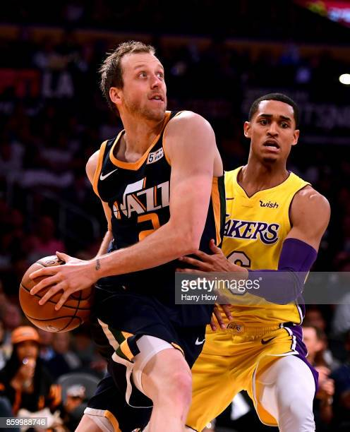 Joe Ingles of the Utah Jazz drives to the basket past Jordan Clarkson of the Los Angeles Lakers during a 10599 Jazz win at Staples Center on October...