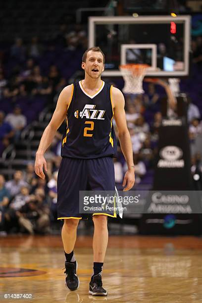 Joe Ingles of the Utah Jazz during the second half of the preseason NBA game against the Phoenix Suns at Talking Stick Resort Arena on October 5 2016...