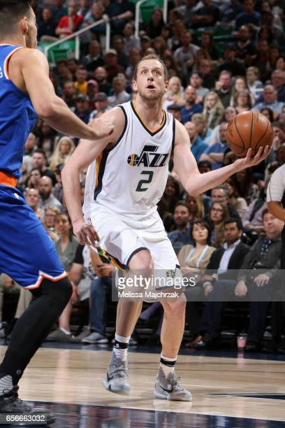 Joe Ingles of the Utah Jazz goes to the basket against the New York Knicks on March 22 2017 at vivintSmartHome Arena in Salt Lake City Utah NOTE TO...