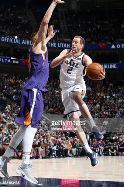 Joe Ingles of the Utah Jazz goes to the basket against the Phoenix Suns on October 6 2017 at vivintSmartHome Arena in Salt Lake City Utah NOTE TO...