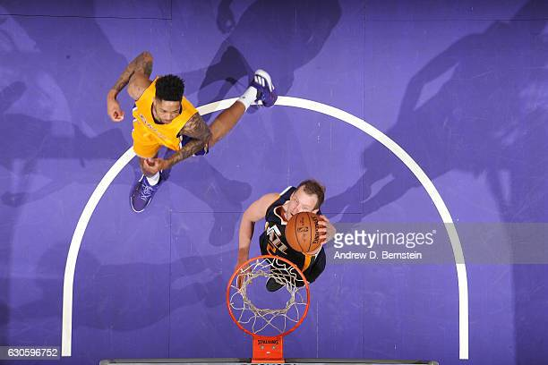 Joe Ingles of the Utah Jazz goes up for a dunk against the Los Angeles Lakers on December 27 2016 at STAPLES Center in Los Angeles California NOTE TO...