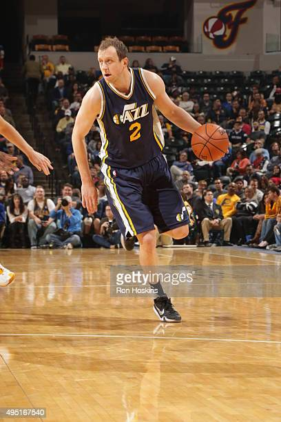 Joe Ingles of the Utah Jazz handles the ball against the Indiana Pacers on October 31 2015 at Bankers Life Fieldhouse in Indianapolis Indiana NOTE TO...