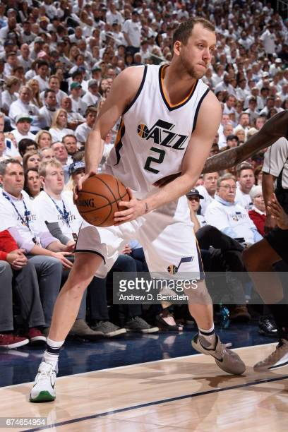 Joe Ingles of the Utah Jazz handles the ball against the Los Angeles Clippers during Game Six of the Western Conference Quarterfinals of the 2017 NBA...