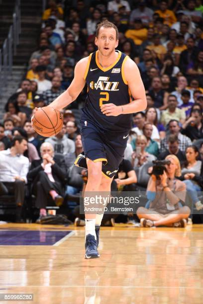 Joe Ingles of the Utah Jazz handles the ball against the Los Angeles Lakers during a preseason game on October 10 2017 at STAPLES Center in Los...