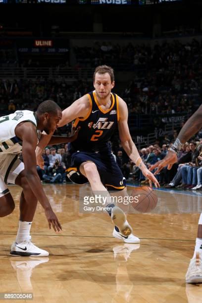 Joe Ingles of the Utah Jazz handles the ball against the Milwaukee Bucks on December 9 2017 at the BMO Harris Bradley Center in Milwaukee Wisconsin...