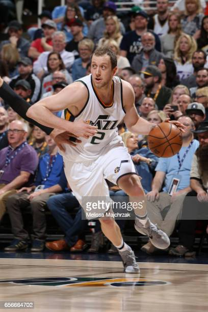 Joe Ingles of the Utah Jazz handles the ball against the New York Knicks on March 22 2017 at vivintSmartHome Arena in Salt Lake City Utah NOTE TO...