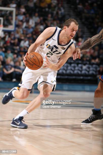 Joe Ingles of the Utah Jazz handles the ball during a game against the Oklahoma City Thunder on October 21 2017 at Vivint Smart Home Arena in Salt...