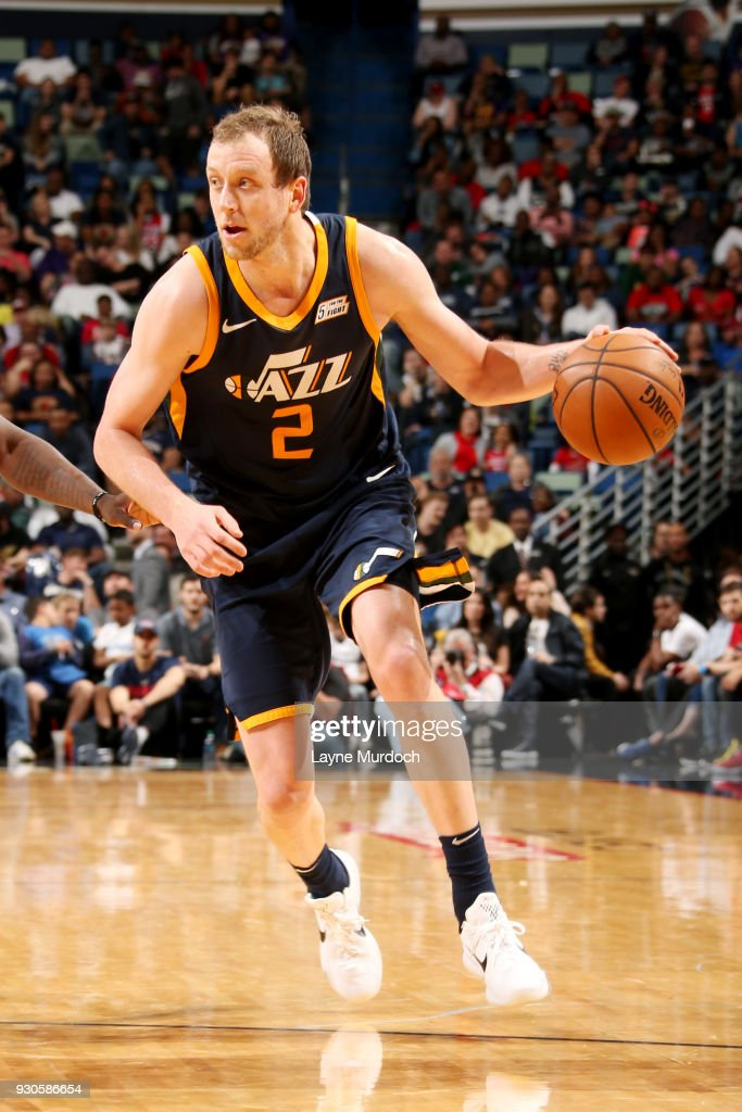 Joe Ingles #2 of the Utah Jazz handles the ball during the game against the New Orleans Pelicans on March 11, 2018 at the Smoothie King Center in New Orleans, Louisiana.