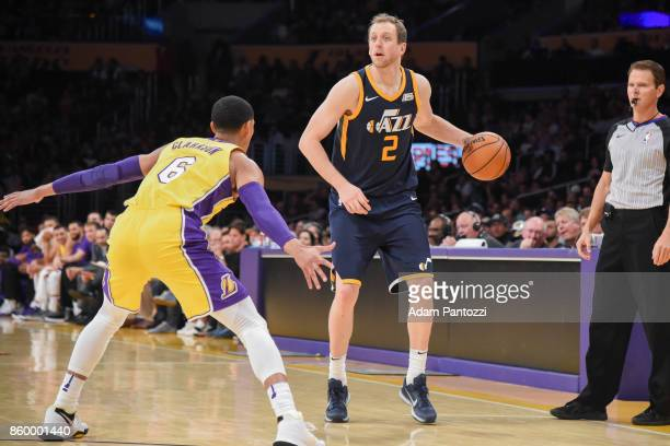 Joe Ingles of the Utah Jazz handles the ball during the preseason game against the Los Angeles Lakers on October 10 2017 at STAPLES Center in Los...
