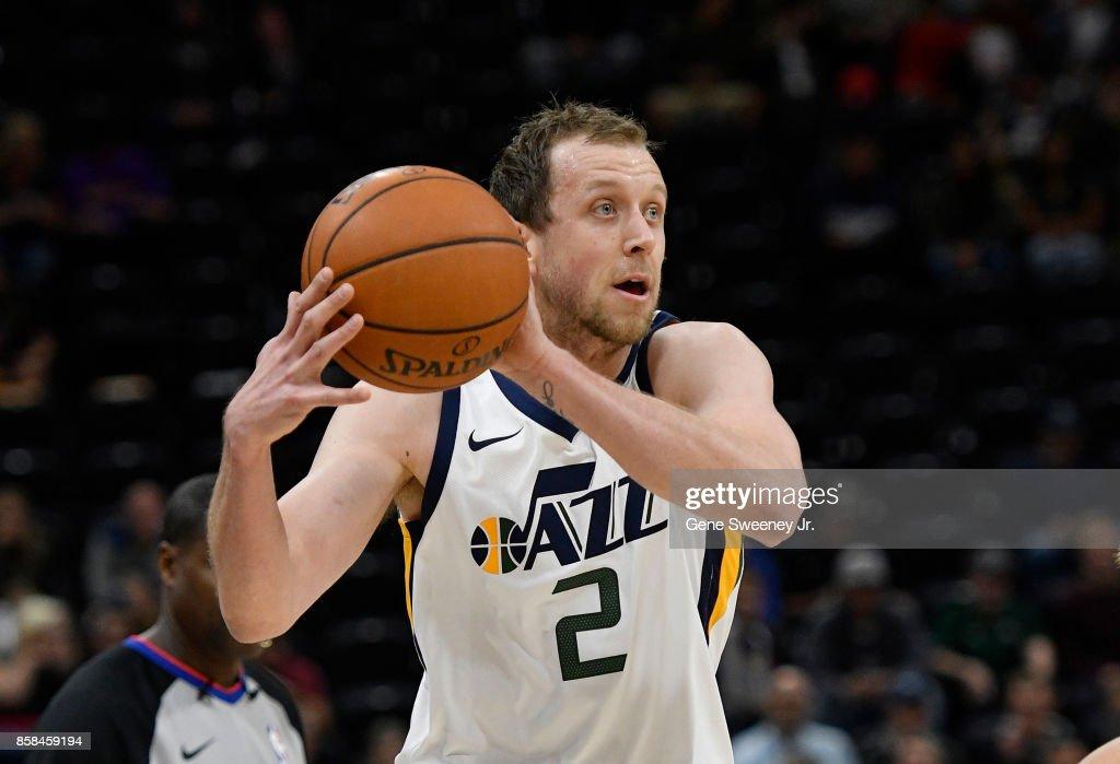 Joe Ingles #2 of the Utah Jazz looks to pass the ball against the Maccabi Haifa in preseason action at Vivint Smart Home Arena on October 4, 2017 in Salt Lake City, Utah.