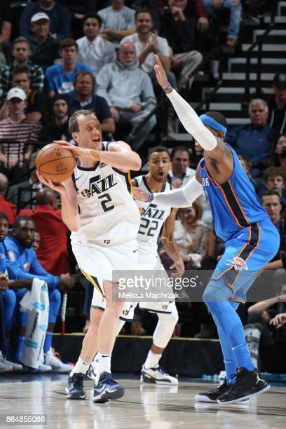 Joe Ingles of the Utah Jazz passes the ball against the Oklahoma City Thunder on October 21 2017 at vivintSmartHome Arena in Salt Lake City Utah NOTE...
