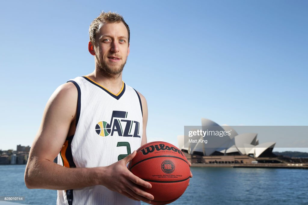 Joe Ingles of the Utah Jazz poses during an NBL Media Opportunity at Cruise Bar on August 1, 2017 in Sydney, Australia.