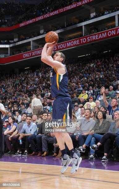Joe Ingles of the Utah Jazz shoots a three pointer against the Sacramento Kings on March 29 2017 at Golden 1 Center in Sacramento California NOTE TO...