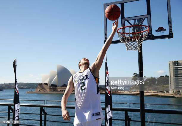 Joe Ingles of the Utah Jazz shoots baskets during an NBL Media Opportunity at Cruise Bar on August 1 2017 in Sydney Australia
