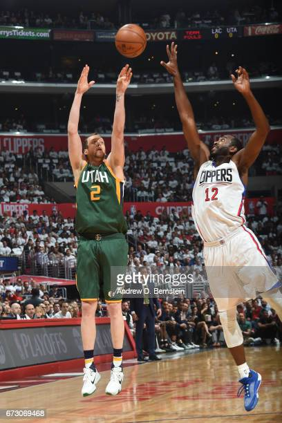 Joe Ingles of the Utah Jazz shoots the ball against the LA Clippers in Game Five of the Western Conference Quarterfinals of the 2017 NBA Playoffs on...