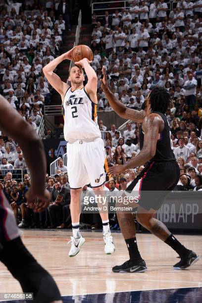 Joe Ingles of the Utah Jazz shoots the ball against the Los Angeles Clippers during Game Six of the Western Conference Quarterfinals of the 2017 NBA...