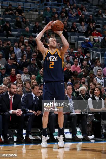 Joe Ingles of the Utah Jazz shoots the ball against the Milwaukee Bucks on December 9 2017 at the BMO Harris Bradley Center in Milwaukee Wisconsin...