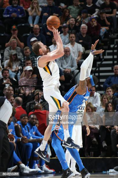 Joe Ingles of the Utah Jazz shoots the ball against the Oklahoma City Thunder during the game on October 21 2017 at vivintSmartHome Arena in Salt...