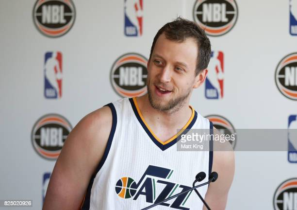 Joe Ingles of the Utah Jazz speaks on stage during an NBL Media Opportunity at Cruise Bar on August 1 2017 in Sydney Australia